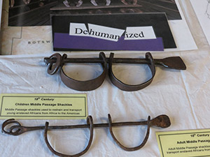 Exhibit of children's shackles from slave ships