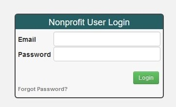 Image of nonprofit user login screen