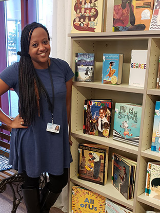 Teacher Nardos Habtemicael expanded the collection of multicultural books in her school library 300