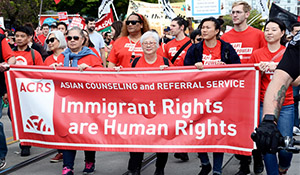 Diane and ACRS march for immigrant rights