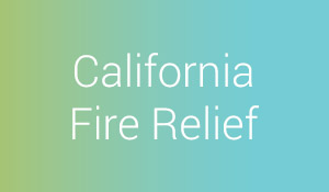 """California Fire Relief"" title over blue-green background"