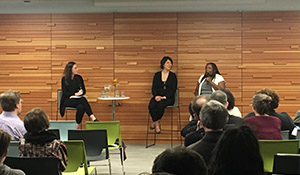 Climate justice leaders Aiko Schaefer, center, and Michelle J. DePass, right,  share insights with Seattle Foundation