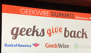 Geeks give back banner from Geekwire