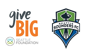 Sounders logo with givebig logo small banner