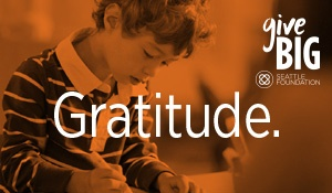 gratitude with givebig logo and orange overlay over leo