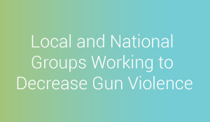 Local and National Groups Working to Decrease Gun Violence title header