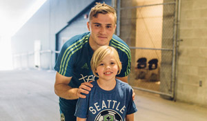 Soccer star Jordan Morris with Abby Alberg