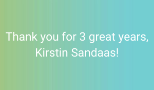 Picture with text: Thank you for 3 great years, Kirstin Sandaas