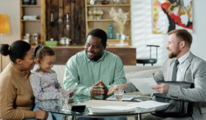 family meeting at a table with a financial advisor