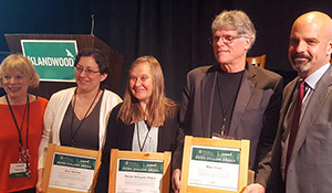 Laurie Miller of IslandWood, Patsy Collins awardees Kim Shulze, Denise Schuyler and Mike Town, and Tony Mestres of Seattle Foundation