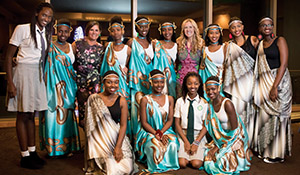 Soozi McGill and students from the Rwandan Girls Initiative