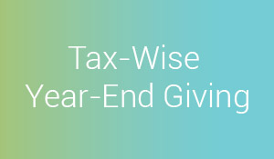 "Title ""Tax-Wise Year-End Giving"" over blue-green background"