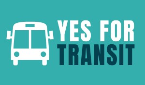 yes for transit logo with white bus outline on a teal background