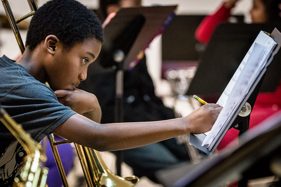 Young musician marking his music
