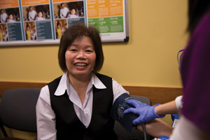 Suet Chin gets her blood pressure checked at the International District Clinic